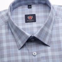 5245ab38edc983 Klasyczna błękitna koszula w kratkę i w pepitkę, formuła Easy Care